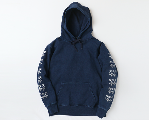 TWO FACE HOODIE DENIM/WHITE