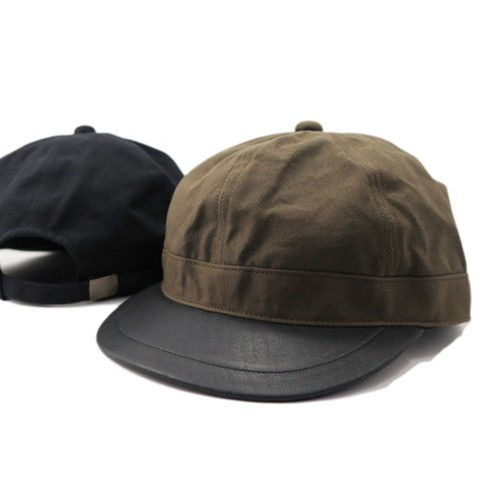 Brim Leather Army Cap【sleepslope】