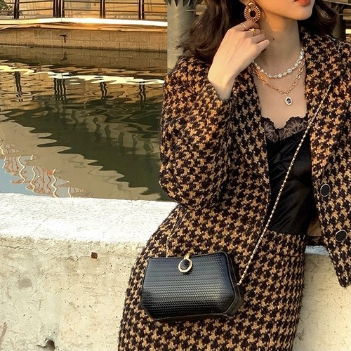 houndstooth midi skirt set up