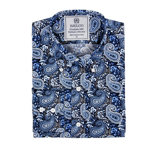 Relco London | Button Down Navy Blue Paisley Shirt