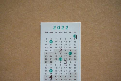 2022年度 貼ってはがせるシールカレンダー/茶×緑