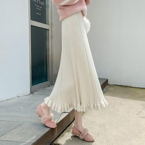 【ボトムス】着心地のいいファッション切り替えAラインギャザー飾りレディーススカート24230810