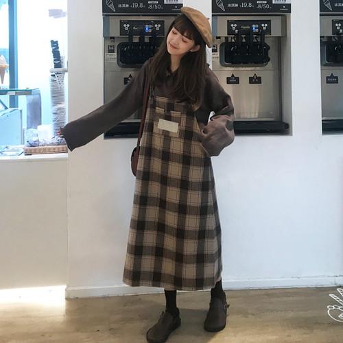 【送料無料】カジュアルでオシャレに♡チェック柄 格子柄 ワンピース ジャンパースカート ショルダーストラップ
