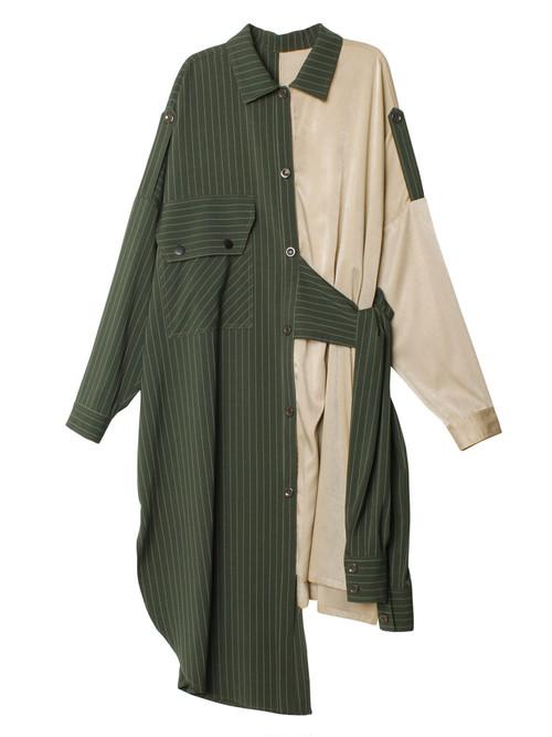 ピンストライプパッチワークサイドタイロングシャツ 15500