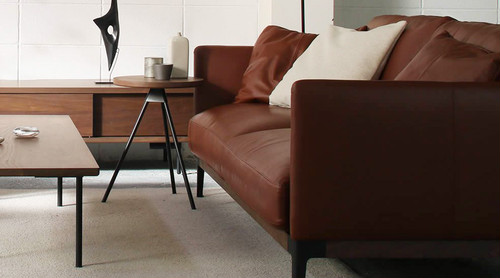 dual sofa 2P(leather) - Walnut