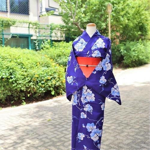 【浴衣 ゆかた すぐ着られる お仕立て上がり】綿麻  / 藍紺色 / 葡萄