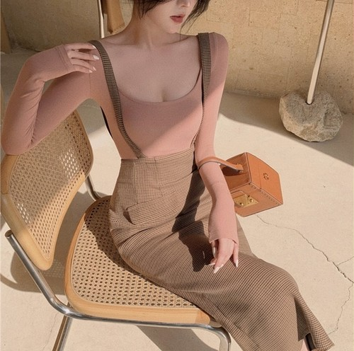 strap tight long skirt set 2color