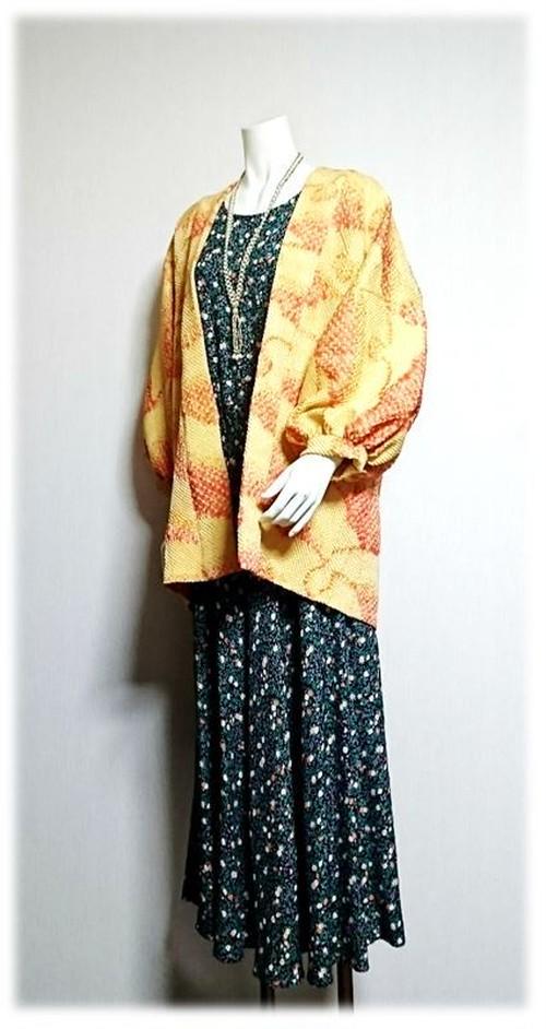 7*絞り羽織リメイクジャケット(イエロー×オレンジ)