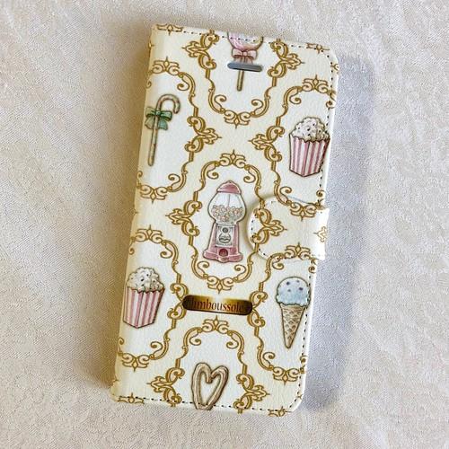 [受注生産]【手帳型】iPhone用お菓子柄スマホケース