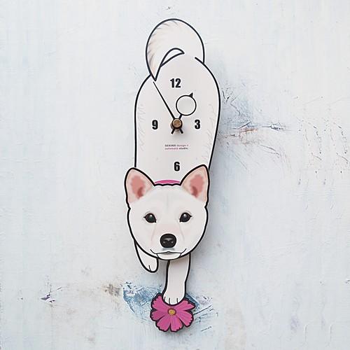 D-133 白柴-犬の振り子時計