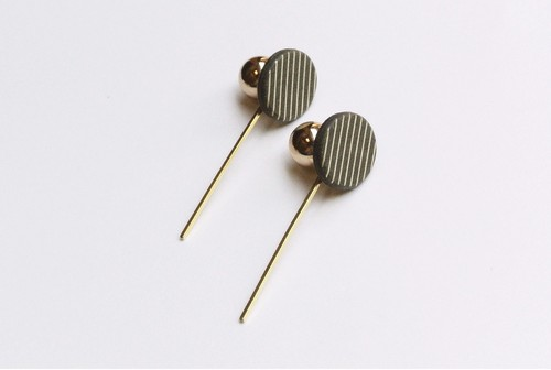 circle stick pierce/earring【CHARCOAL】