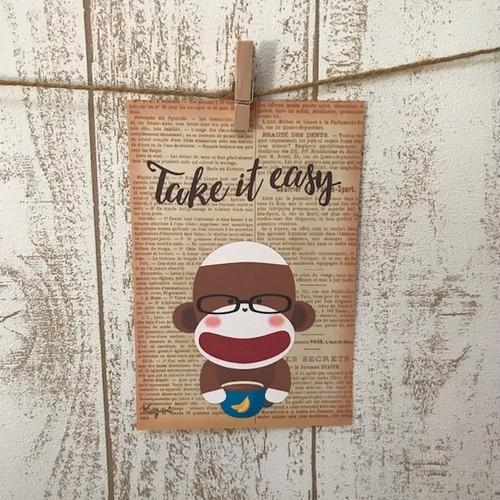 ポストカード 5枚セット(Take It Easy Sock Monkey)