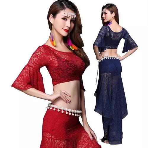 ベリーダンスセクシー女性のベリーダンスの摩耗のためのダンスコスチュームのベリーダンスのトップ+スカートスーツ