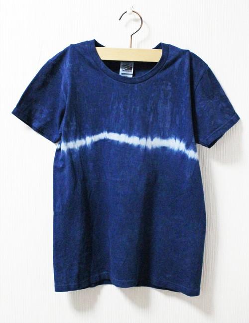 藍染め半袖 綿Tシャツ M(AHT-10)