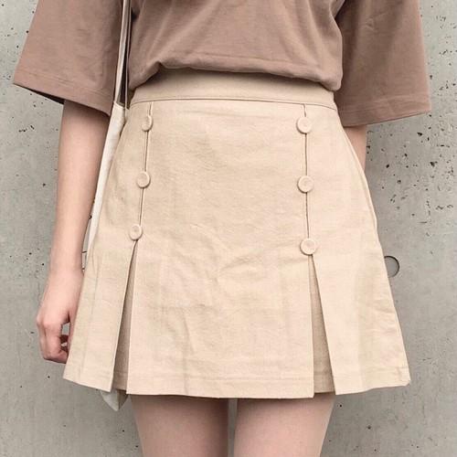 double button mini skirt