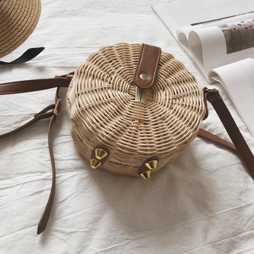 草編み カバン サマーストローバッグ ビーチ ラウンドウィーブハンドバッグ 2018 ニューサマー スモールバッグ ショルダー メッセンジャー T040060002
