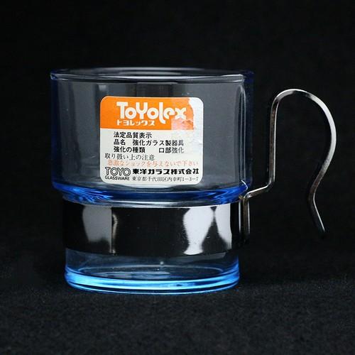 昭和 レトロ ToYolex(東洋ガラス) 強化ガラス ホルダー付きグラス ラベル付き (089)