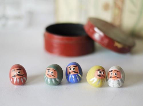 5色豆だるま 土人形 達磨 ダルマ 郷土玩具 菊文様塗箱入り