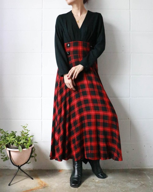 black + red checked dress
