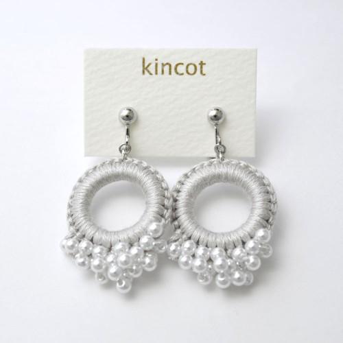 kincot リングパールイヤリング(ライトグレー)