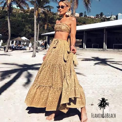 【FlamingoBeach】leopard long skirt ロングスカート