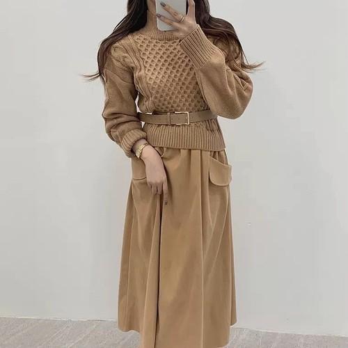 belt knit dress 2color