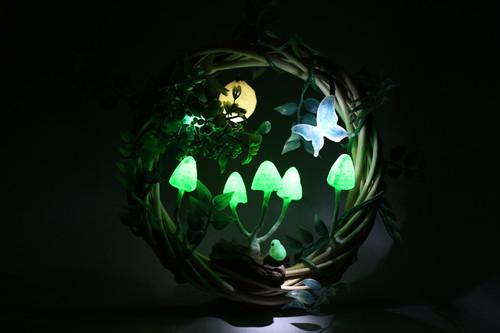 箱庭 リース LEDライト 月とキノコ