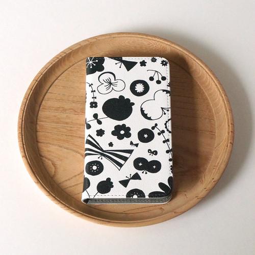 【マルチタイプ:Android と iPhone に対応】帯なし*手帳型*スマホケース「bliss (black)」