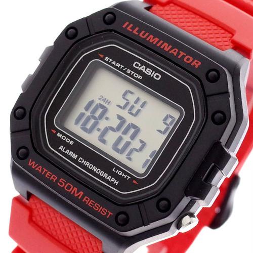 カシオ CASIO 腕時計 メンズ レディース W-218H-4BV クォーツ レッド レッド