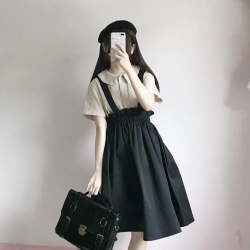 【セットアップ】2点セット日系清新スウィートラウンドカラーシャツ+キャミワンピース