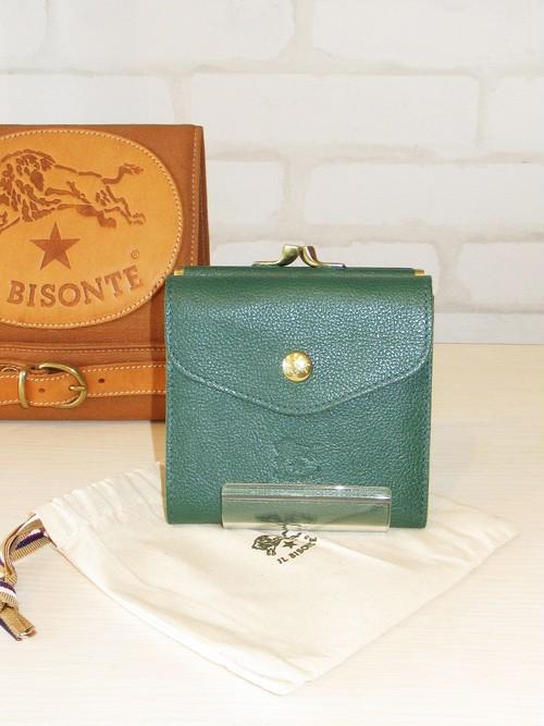 IL BISONTE(イルビゾンテ)/ガマ口二つ折り財布/411127(グリーン)