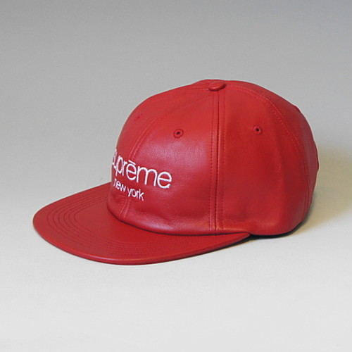 SUPREME シュプリーム 16FW LEATHER CLASSIC LOGO 6 PANEL RED
