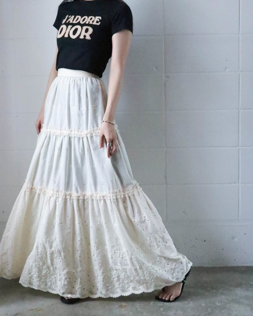70's of-white cutwork lace skirt