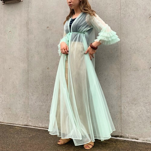 (LOOK) organdy frill sleeve see-through gown