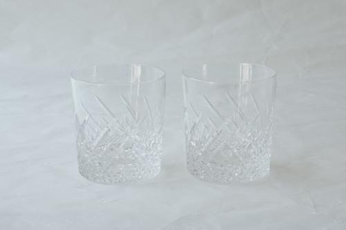 日本製 ハンドカット ペア ロックグラス 260㏄ クリスタルガラス製 クリア