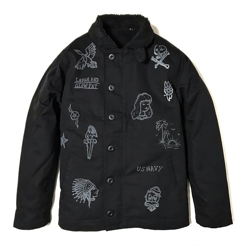 """DUCKTAIL CLOTHING N-1 DECK JACKET """"LAUGH AND """"GLOW"""" FAT"""" BLACK ダックテイル クロージング N-1 デッキジャケット"""