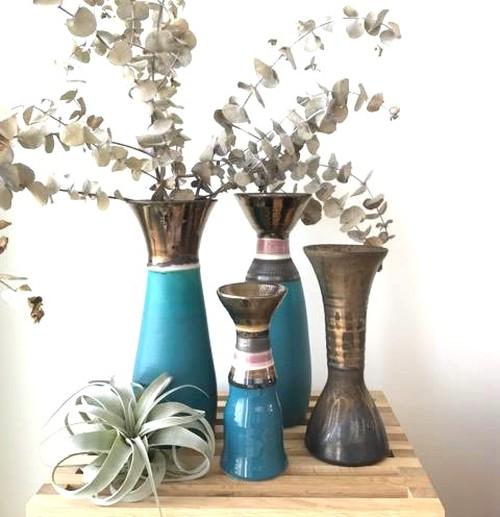 【限定品】ターコイズブルーの花器 Small 陶器