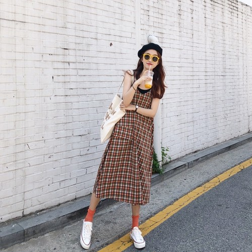 plaid long over onepiece