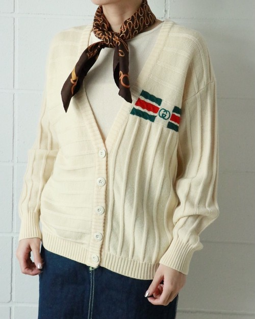 OLD GUCCI off white logo cardigan