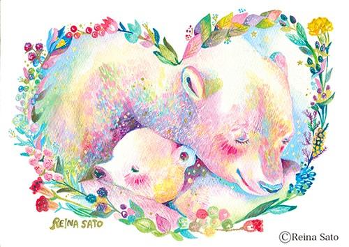 クマママとハグ[A4ポスター]
