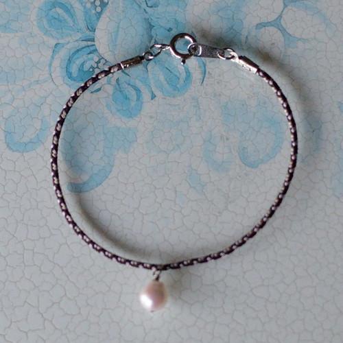 あこや真珠の組紐ブレスレット【あこや真珠】bls-279ブラウン