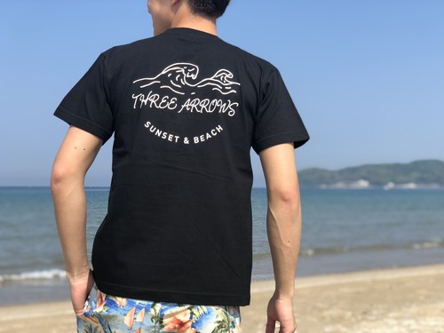 SUNSET & BEACH Tシャツ(black)