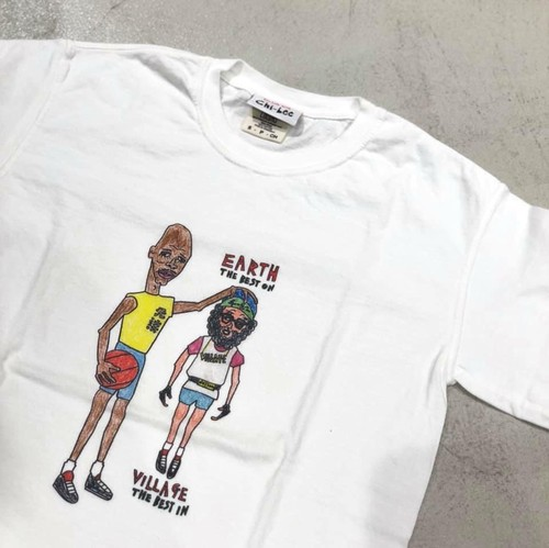 chi-bee - EARTH and VILLAGE - Tシャツ -  ホワイト