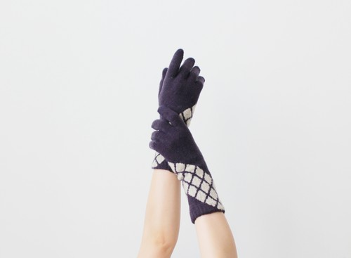 % PERCENT 手袋(CONFORTABLE:パープル・ベージュ)裏起毛・スマホ対応・ギフト箱付き(男女兼用)