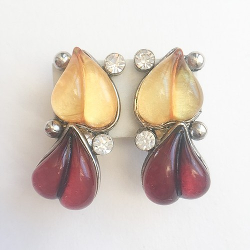 red & yellow heart earring[e-795]