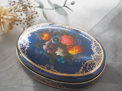 アンティーク フラワー ドロップ ティン缶 イギリス製/小物入れ<Blue Flower>