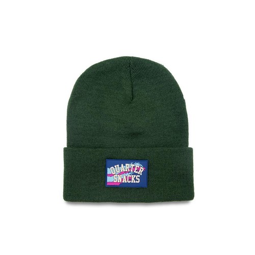 QUARTERSNACKS / RUBBER LABEL BEANIE -FOREST GREEN-