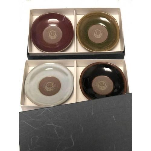 【水色/紫色】縁起物『あげだるま』箸置き小皿2個組 越前焼 お祝い 宴席 会席 お正月 記念日 贈り物 ご長寿プチギフト
