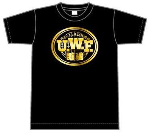 UWF道場Tシャツ黒(ゴールドプリント)