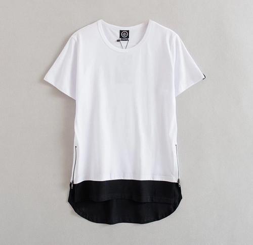 [激売れ]ロング丈白黒デザイン半袖Tシャツ